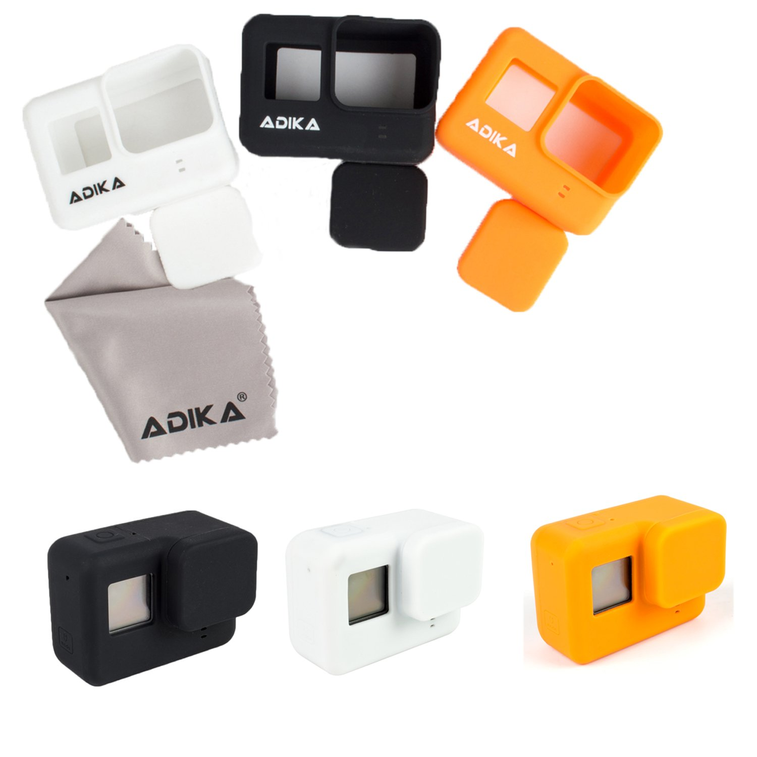 Silicone Body Skins for Gopro hero5/6 silicone case cover (Black/Orange/White 3pcs + Lens Cap + Lens Protector + Screen Protector) w/lens cap for Gopro hero 5 w/lens and lcd screen protector By ADIKA by ADIKA
