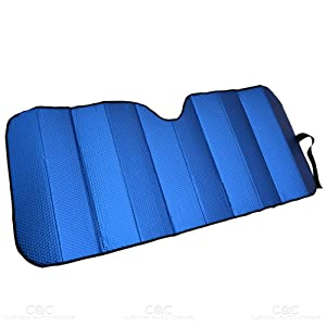 Motor Trend AS-311-BL_am Front Windshield Sun Shade-Accordion Folding Auto Sunshade for Car Truck SUV 58 x 24 Inch (Blue)
