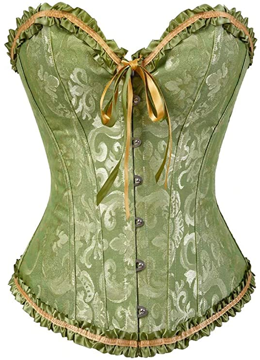 Victorian Corsets – Old Fashioned Corsets & Patterns Womens Lacing Corset Top Satin Floral Boned Overbust Body Shaper Bustier  AT vintagedancer.com
