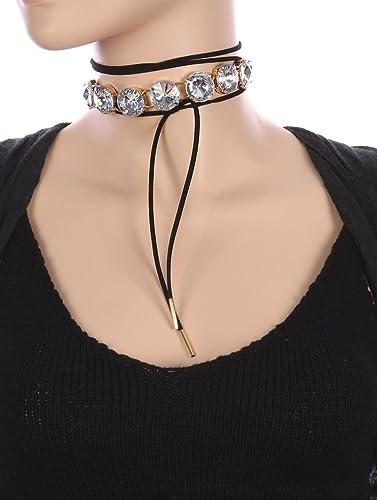 e18bc5f47231a Amazon.com: Destinee's black ROUND GLASS STONE FAUX SUEDE WRAPAROUND ...