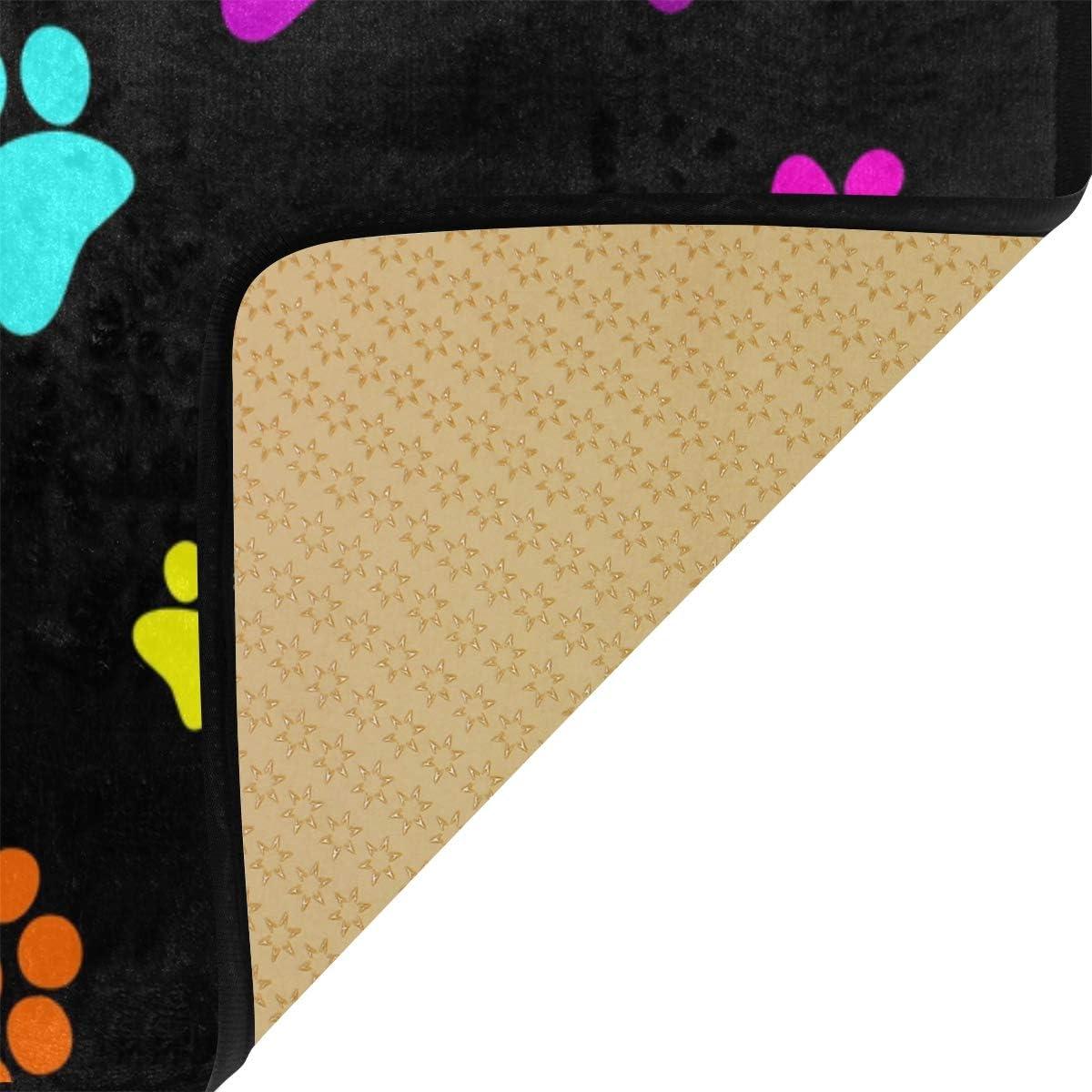 Paillasson antid/érapant Bardic imprim/é pattes de chien lavable en machine pour salon 50,8 x 99 cm cuisine chambre /à coucher salle /à manger