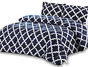 Printed Comforter Set (Navy, Queen) with 2 Pillow Shams - Luxurious Soft Brushed Microfiber - Goose Down Alternative Comforter by Utopia Bedding