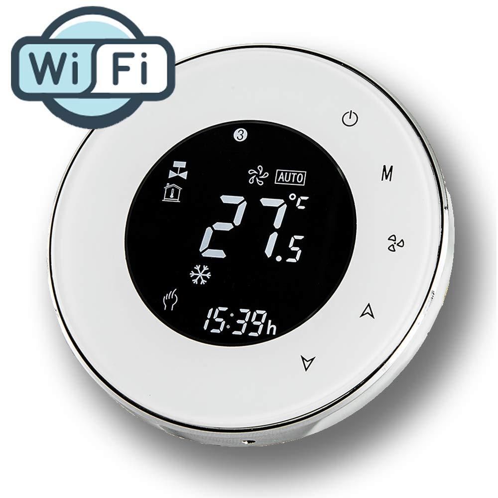4 Tuyaux pour Climatiseur, Blanc WiFi Thermostat,Arxus Contr/ôle WiFi /Écran Tactile LCD Pi/èce Programmable Thermostat pour Central Air Conditionneur//Chauffage