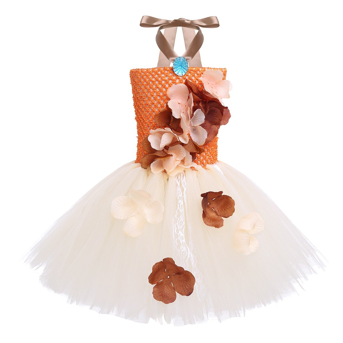 CHICTRY Princess Moana Dress Tutu Mesh Lace Party Gown Birthday Dress up for Toddler Kid Girls Orange&Beige 12