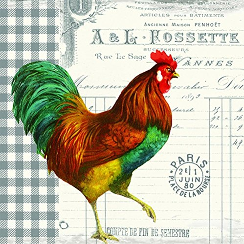 Paperproducts Design 1251452 French Rooster Beverage Paper Napkin, 20-Pack (Rooster Decorations Party)