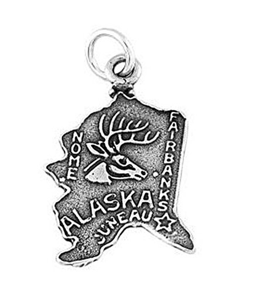 Sterling Silver Oxidized State of Alaska Charm