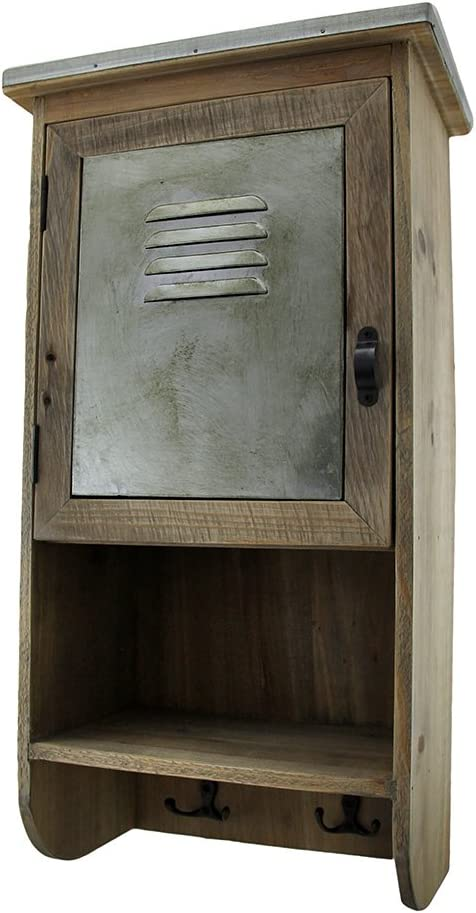 Zeckos Rustic Reclaimed Wood Wall Cabinet w/Shelf and Hooks 20 in.