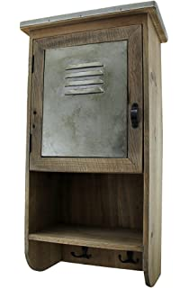 Zeckos Wood U0026 Metal Cabinets Rustic Reclaimed Wood Wall Cabinet W/Shelf And  Hooks 20