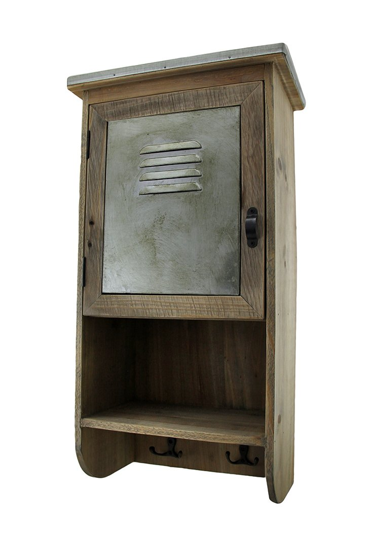 Zeckos Wood & Metal Cabinets Rustic Reclaimed Wood Wall Cabinet W/Shelf and Hooks 20 in. 9.5 X 20 X 6 Inches Brown