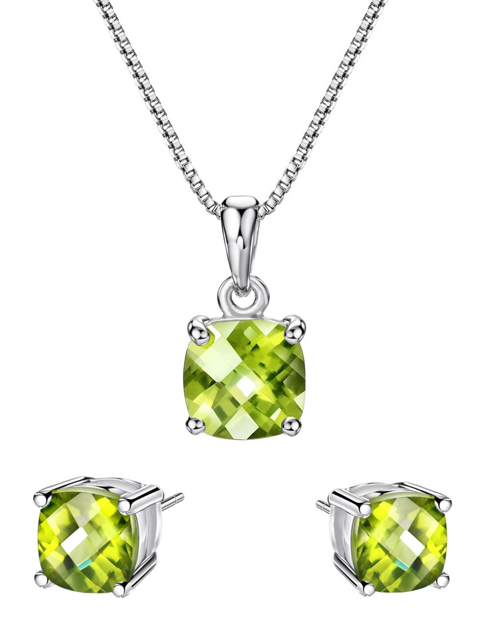 Mints 2ct Peridot Jewelry Set Sterling Silver Pendant Necklace Stud Earrings August Birthstone Gemstone for Women