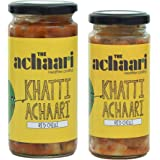 The Achaari Khatti Achaari Red Chilli, 100% No Oil & No Preservative, Homemade Mango Pickle, Combo Pack (400 Grams + 250 Grams)