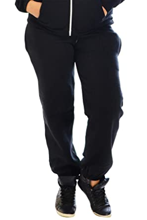 63b90123db6 Womens Plus Size Fleece Tracksuit Bottoms Warm Cuffed Ladies Trouser  Elasticated Nouvelle Collection  Amazon.co.uk  Clothing