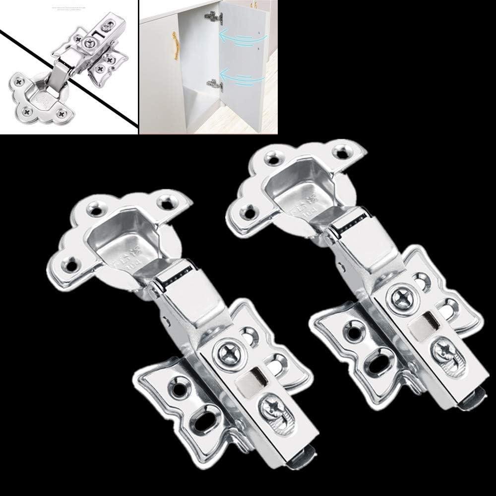 2 unidades bisagras de acero inoxidable Bisagras de puerta de armario de cocina de cierre suave con tornillos