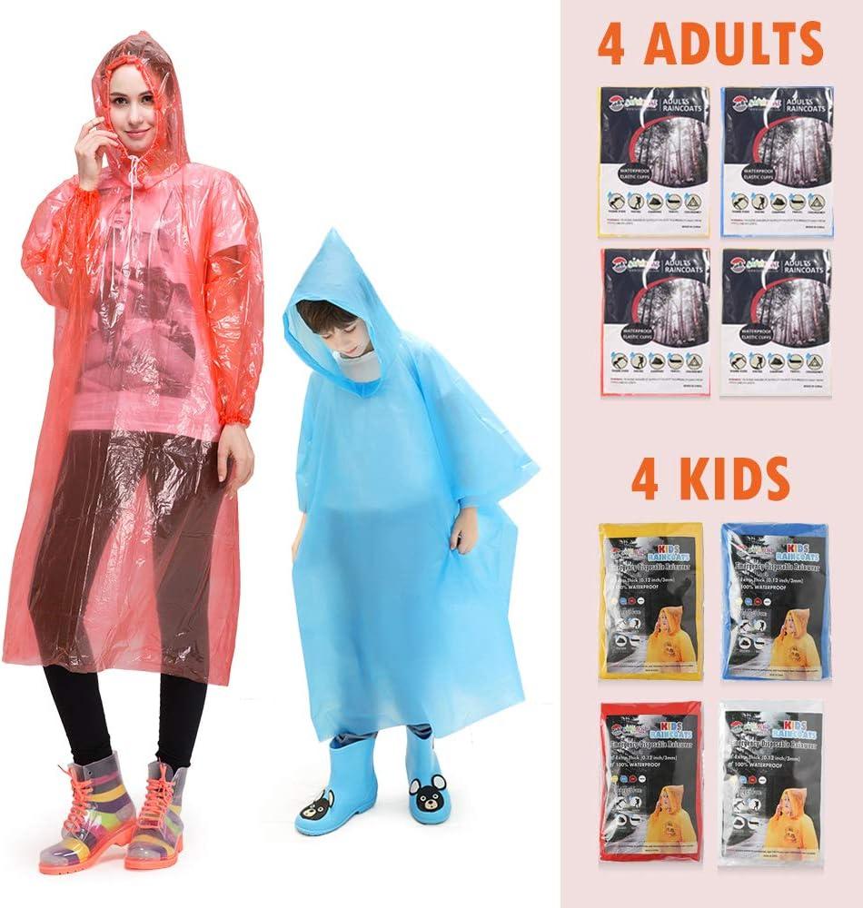 8 Packs Disposable Ponchos Family Pack Emergency Raincoats for Men Women Kids