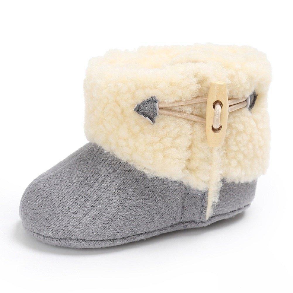 Meeshine Winter Warm Baby Boots Premium Soft Sole Prewalker Newborn Infant Boy Girl Crib Shoes Snow Boots(Medium / 6-12 Months,Gray)