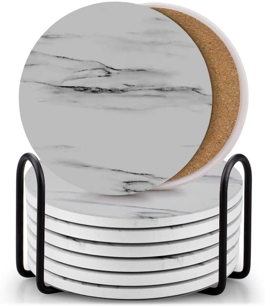 Set of 8 Coasters for Drinks ,EAGMAK Absorbent Marble Style Ceramic Drink Coaster with Holder for Coffee Wooden Table Home Decor(Grey)