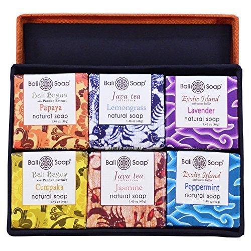 (Bali Soap - Fabric Gift Box, Natural Bar Soap, 6 pc Set, 1.4 Oz each)