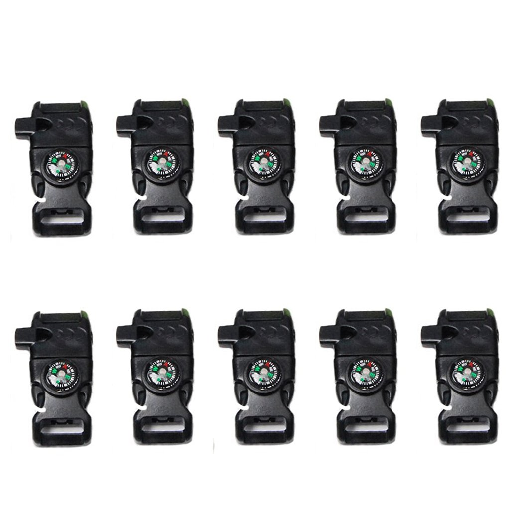 YEHAM 10 PCS Emergency Whistle Buckle come with Compass&Fire Starter&Flint Scraper for Outdoor Camping Paracord Bracelet (black)
