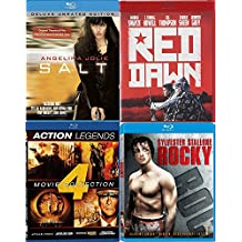 Action Four Film Favorites Blu Ray Red Dawn / Salt Angelina Jolie / Rocky I Stallone / Legends Universal Soldier / Second Command / Attack Force / Into the Sun Seagal + Van Damme Bundle