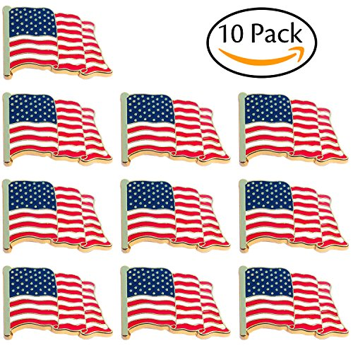 Bassion 10 Pcs American Flag Pins Waving United States Patriotic USA Lapel Pin - Flag Design Lapel Pin