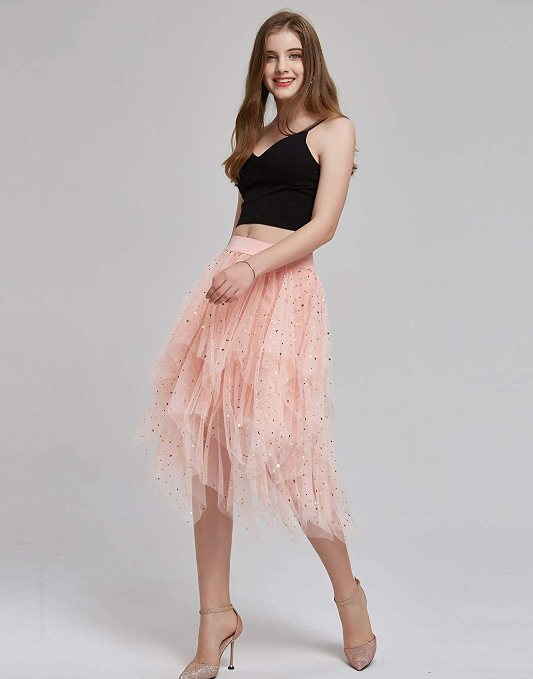 FEOYA Women Tutu Prom Party Sequins Star Midi//Knee Length Skirt Tulle Skirt