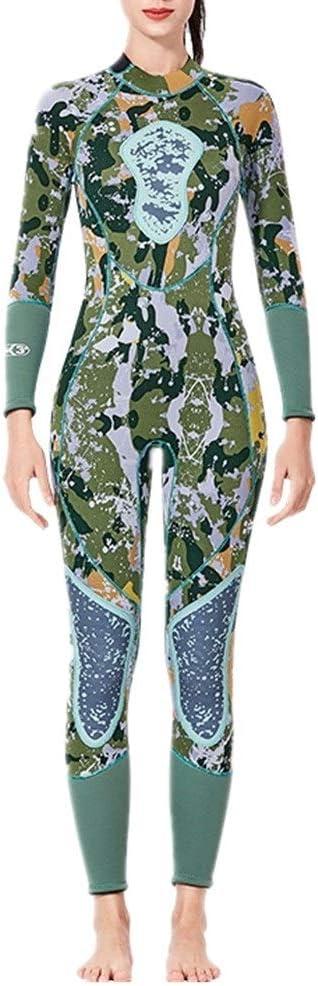 ウェットスーツ レディース バックジッパーグリーン女性用フルウェットスーツ長袖サーフィンスーツ ダイビングスーツ ネオプレンスーツ (Size : M)  Medium