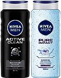 NIVEA MEN Hair, Face & Body Wash, Active Clean Shower Gel, 500ml and NIVEA MEN Hair, Face & Body Wash, Pure Impact Shower Gel, 500ml
