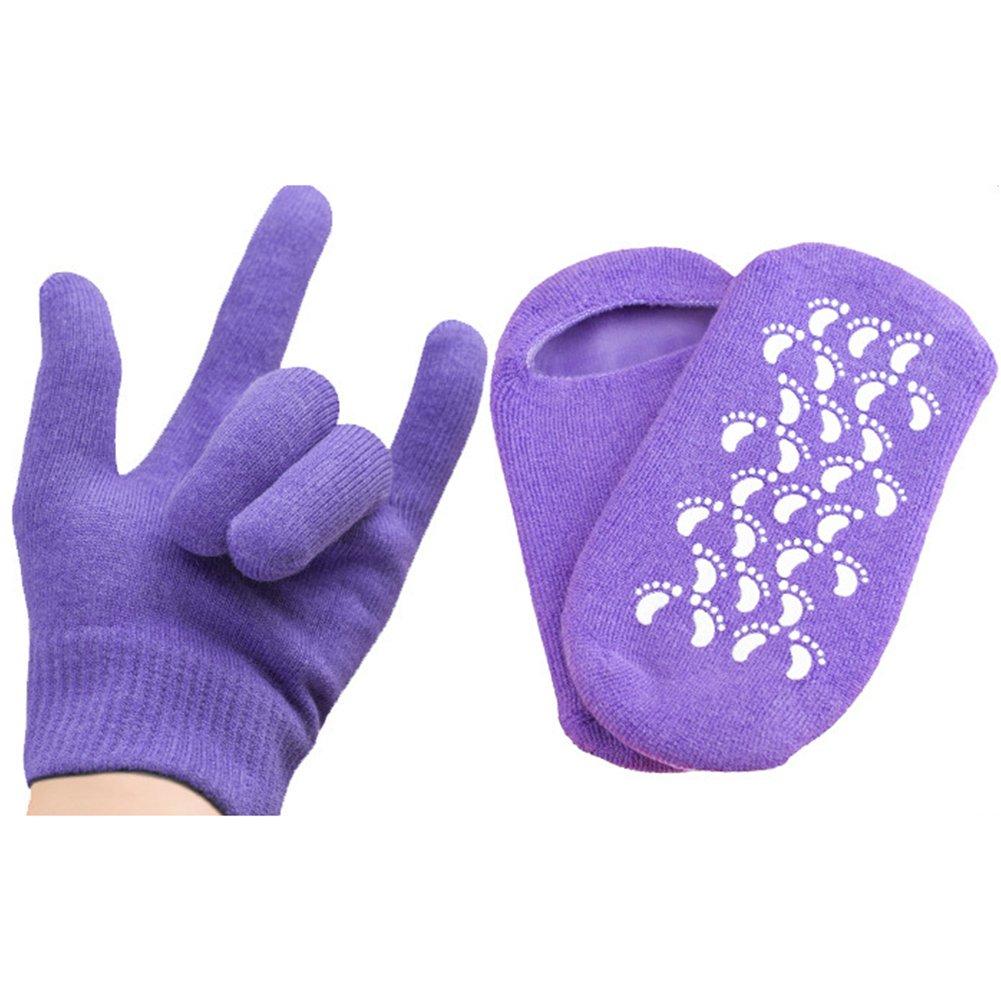 elegantstunning Riutilizzabile Spa Gel Calzini Guanti esfoliante idratante Whitening Hand Mask Ageless Smooth Foot Care Silicone Calze Rosa Guanti