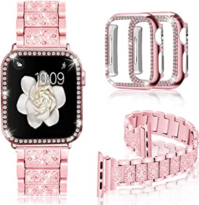 Mosonio Compatible with Apple Watch Band 44mm with Case Women, Jewelry Replacement Metal Wristband Strap with 2 Pack Bling PC Protective Cover for iWatch Series 6/5/4(Pink)