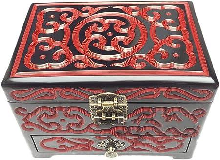irugh Manualidades Caja de joyería de la Laca joyería Caja China Caja de almacenaje Talla de Arte: Amazon.es: Hogar