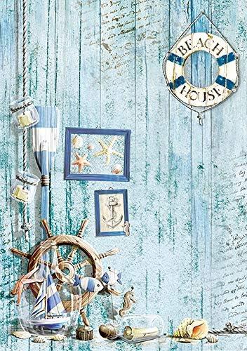 Motiv-Strohseide Coastal Living 1 Zita`s Creative Reispapier A4 Decoupage Papier Strohseidenpapier
