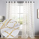 Kotile Gold Moroccan Tile Print Semi Sheer Curtains for Bedroom - Solid White Voile Grommet Top Window Drapes for Kids Room,