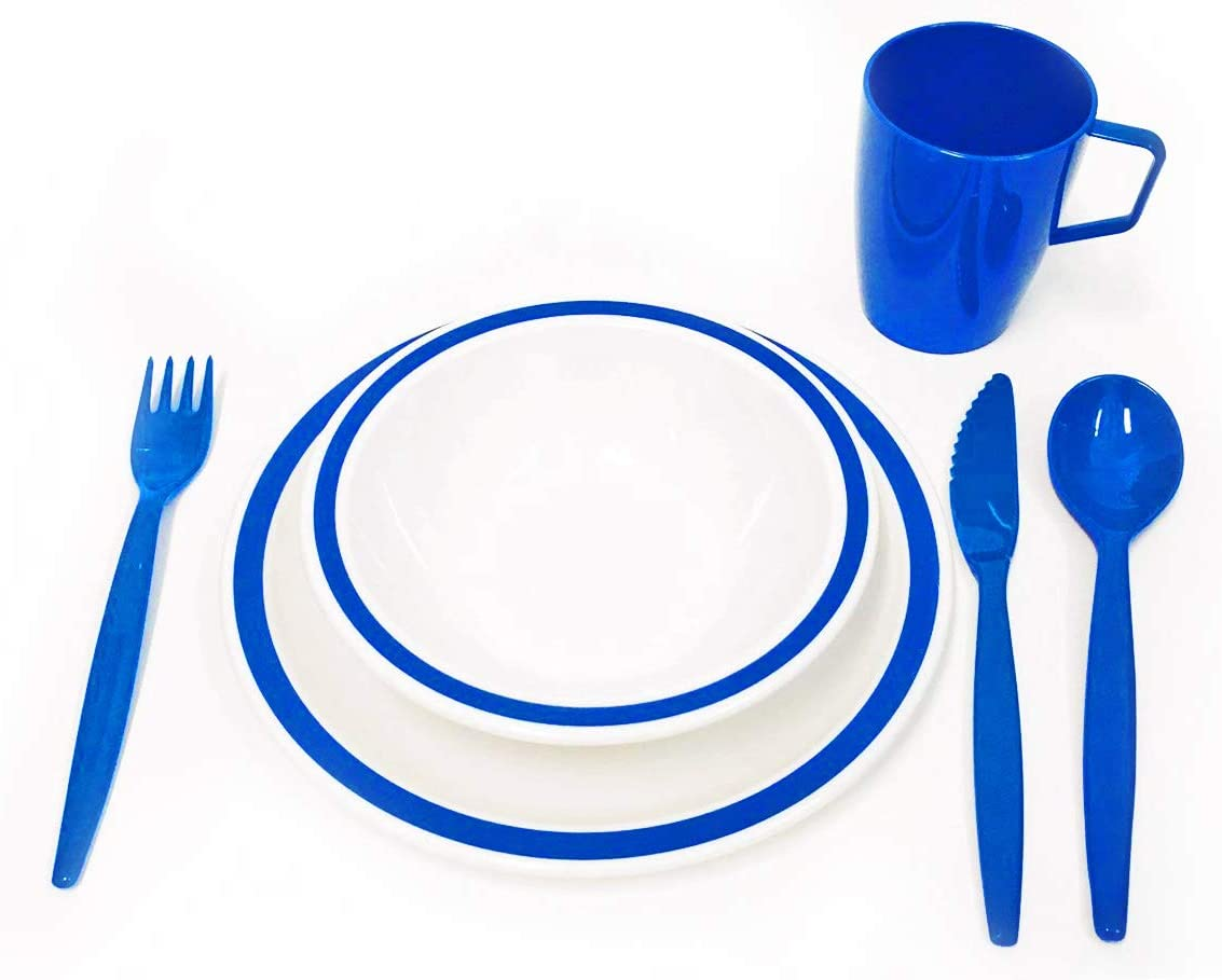 HQ Polycarbonate Plastic Harfield Blue /& White Duo Camping Dinner Set
