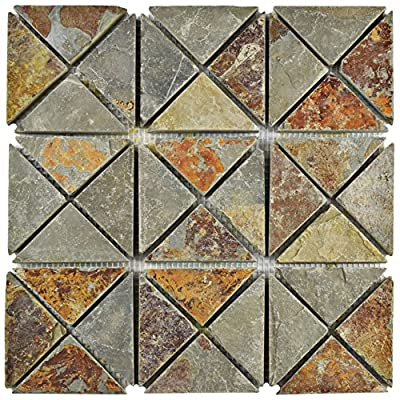 "SomerTile SCRTSSS Cliff TriSquare Sunset Slate Natural Stone Mosaic Floor and Wall Tile, 12"" x 12"", Grey/Brown/Red/Orange/Green"