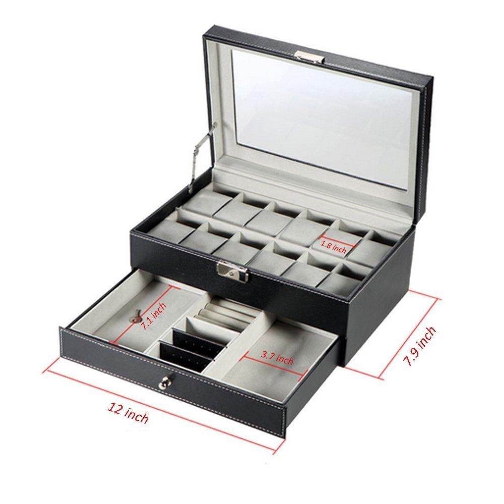 Amazon.com: Genenic - Caja expositora de piel sintética de ...