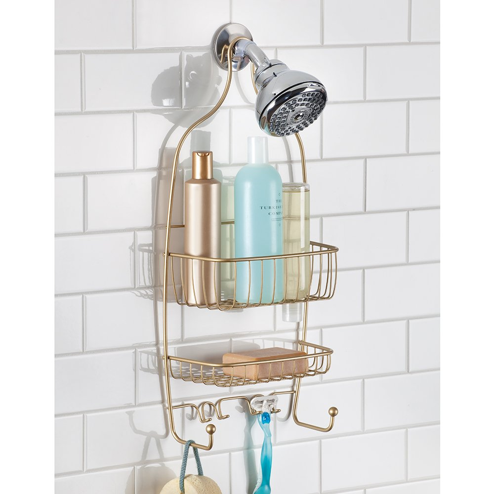 InterDesign Raphael Bathroom Shower Caddy, Regular - Pearl Gold