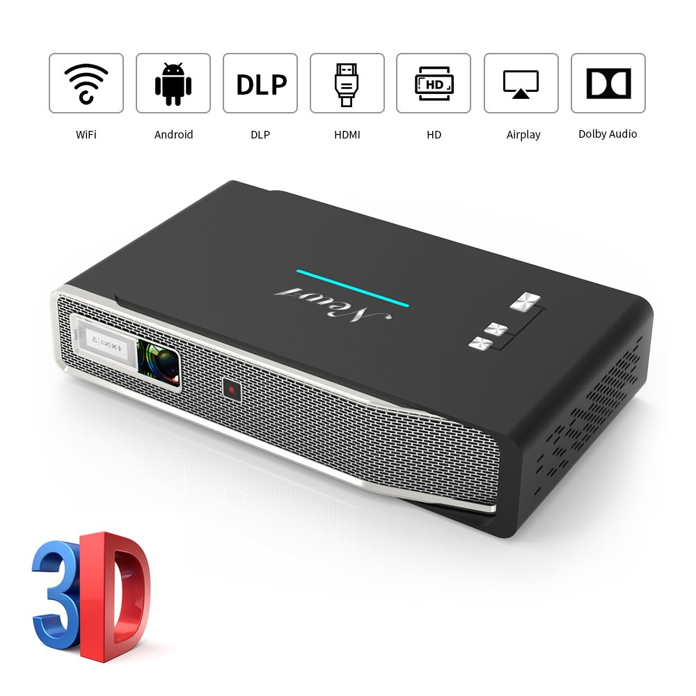"""Portable Video Projector,3x Brighter Full HD LED Movie Projector with 300"""" Picture,Android 7.1,3D,Dolby,WiFi,1080P,Compatible with TV Stick/PS4/HDMI/Smartphone/Laptop for Home Theater,Office,Education"""