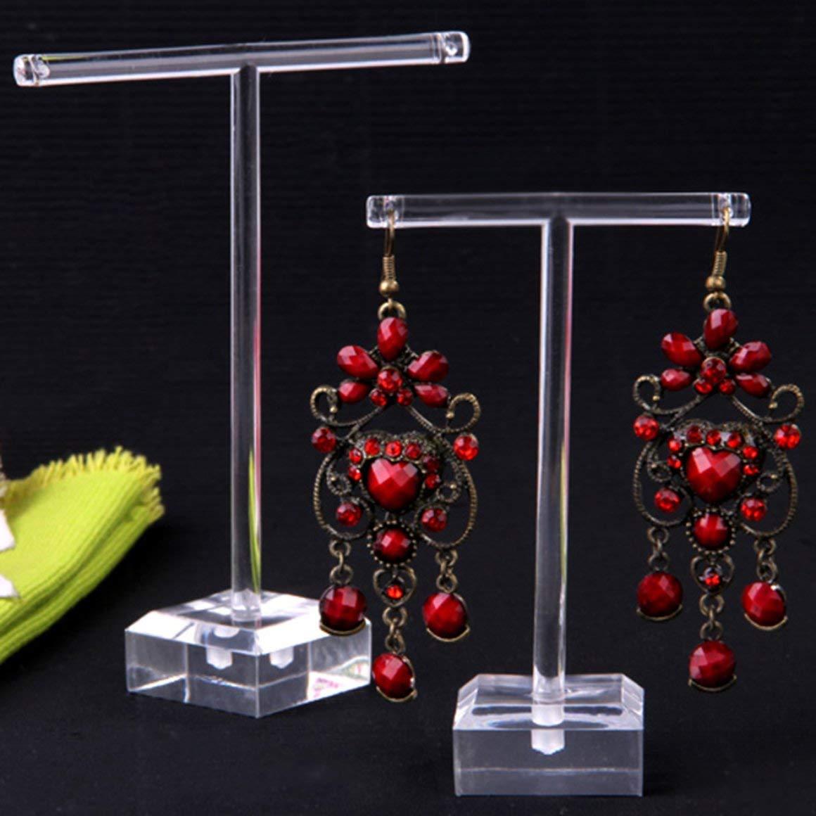Funnyrunstore 2pcs Set Orecchini di plastica Trasparente Display vetrina T Bar Stand Holder Organizer Jewelry Hanger Display Rack Kit