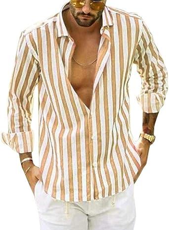 Tomwell Camisa Hombre Cuello Blusa Manga Larga Camisas Top De Rayas Color Sólido Blusas Suelta Camisas De Trabajo Suave Cómodo Transpirable Camisa Abotonada: Amazon.es: Ropa y accesorios