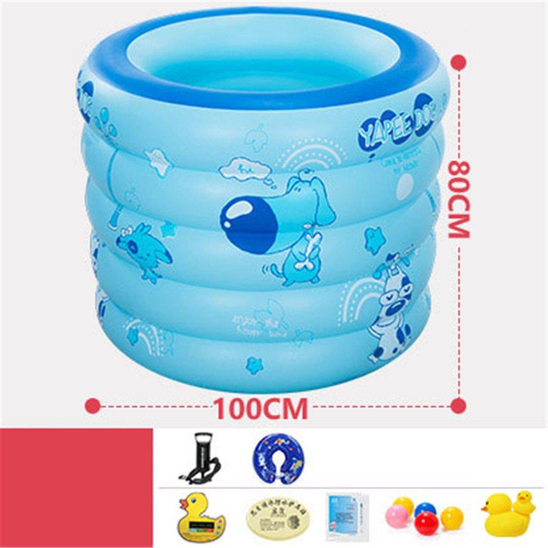 MIWENEspesar a los Niños de la Familia del PVC ecológicos Bañarse y Nadar Piscina Inflable Redonda Plegable del Juguete de la Piscina de la Bola de Piscina del bebé Azul 100  80cm para 0-3 Años