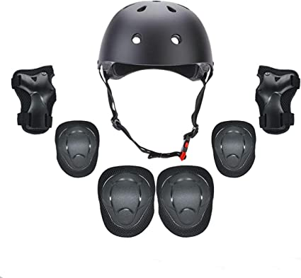 FOUJOY Sports Protective Gear Set Knee and Elbow Pads with Wrist Guards Adjustable Strap and Kids Helmet Suitable for 3.5-8 Years Old Children Scooter Skateboard 7 Packs Bicycle Roller