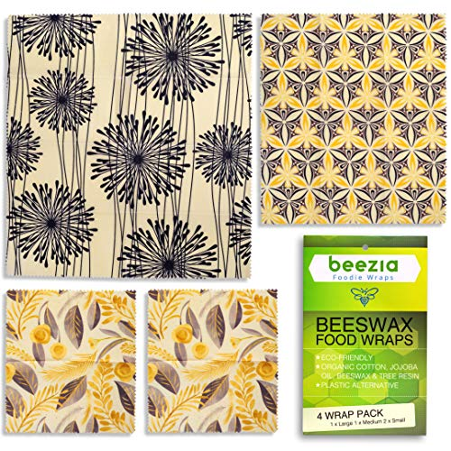(4 Pack) Beeswax Reusable Food Wrap - Plastic Free Food Storage, Organic Cotton & Eco-Friendly, (1 Large, 1 Medium, 2 Small)