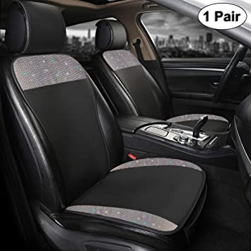 Black Panther Luxury PU Leather Front Pair Car Seat Covers Protectors with Bling Bling Crystal Rhinestones for Women Girls, Universal Fit 95% of Cars, Black