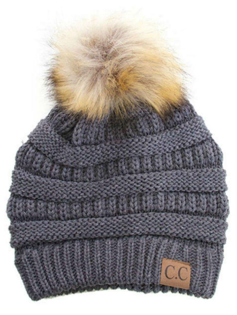 Plum Feathers Soft Stretch Cable Knit Ribbed Faux Fur Pom Pom Beanie Hat (Dark Grey)