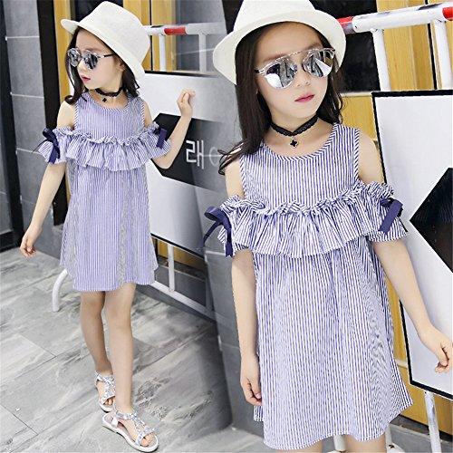 FTSUCQ Girls Off Shoulder Striped Print Dress (130(7-8Y), Blue) by Dillian Dress (Image #4)