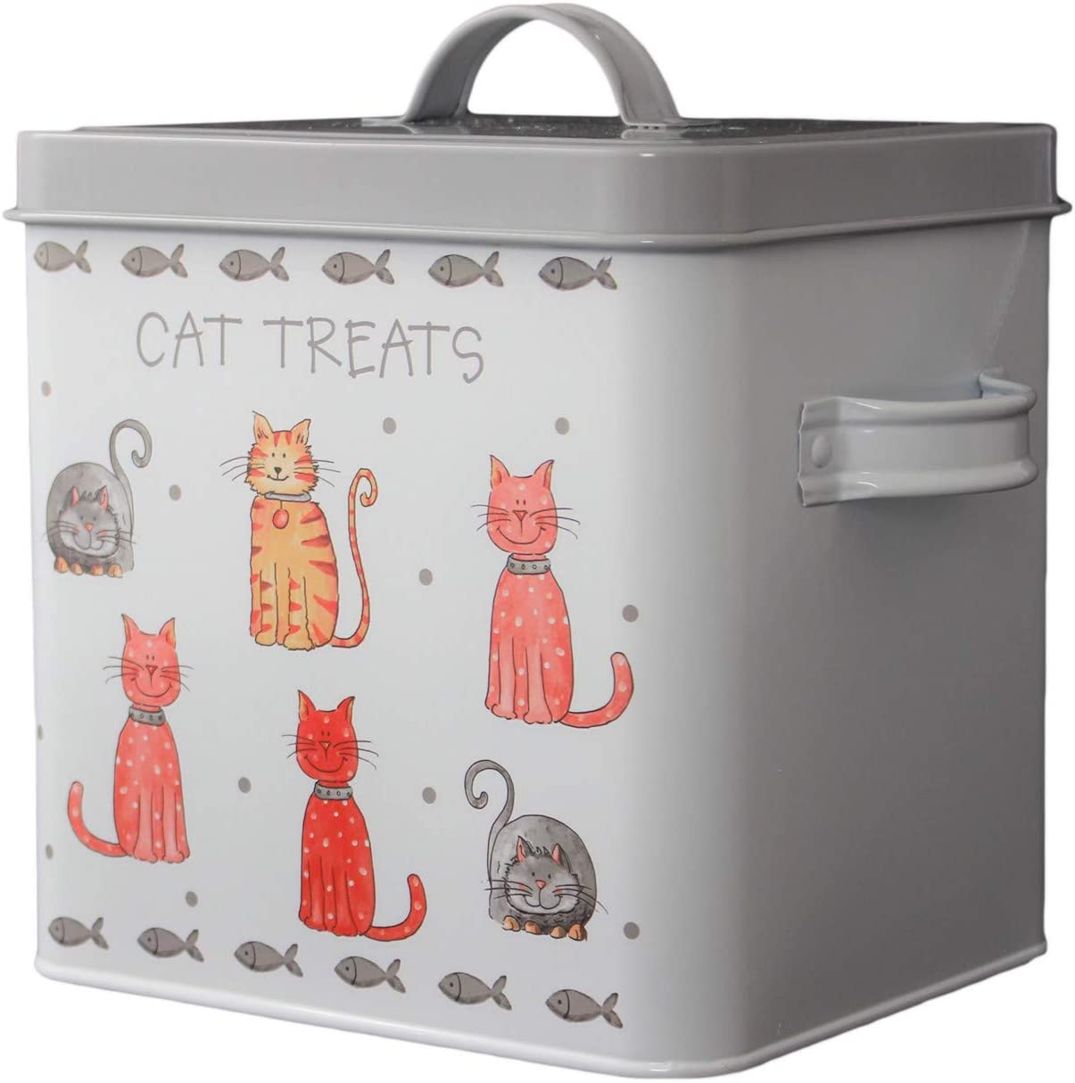 Faithful Friends Cat Treats Storage Tin Box Canister