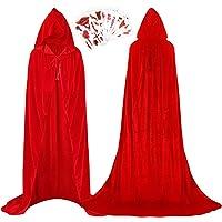 Wishstar Halloween cape met capuchon, Halloween cape tattoo stickers set, Halloween cape kostuum volwassenen fluweel…