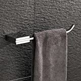 Velimax Chrome Towel Holder Modern Hand Towel Ring Squared of Stainless Steel Wall Mounted Towel Hanger for Bathroom, Chrome Finish