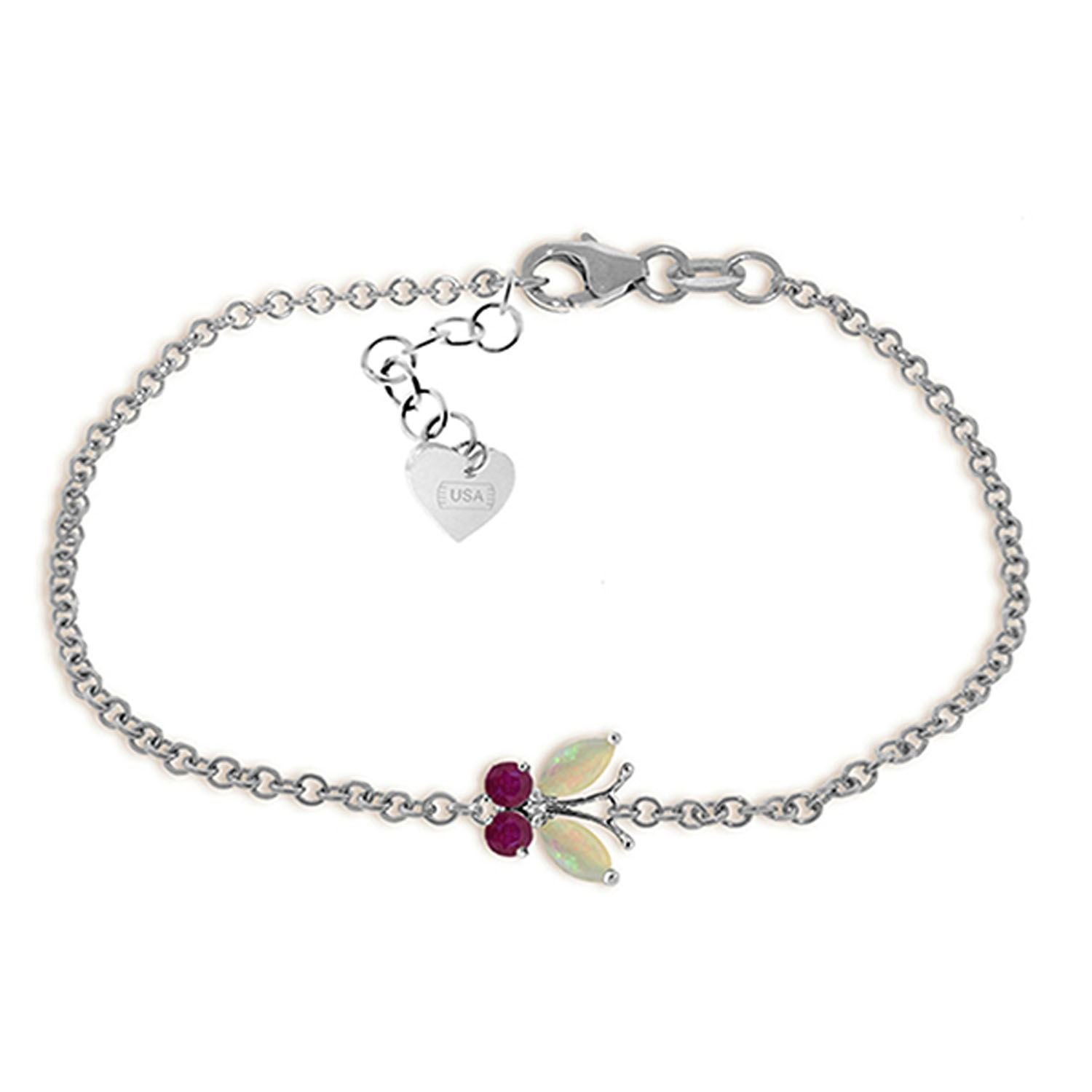 ALARRI 0.6 Carat 14K Solid White Gold Coming Down Love Opal Ruby Bracelet Size 8.5 Inch Length