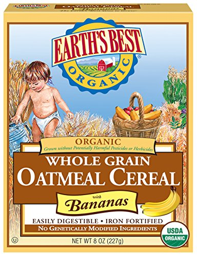 Earth's Best Organic Infant Cereal, Whole Grain Oatmeal with Bananas, 8 oz. Box (Pack of 12)